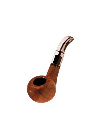 Transparent pipe with mouthpiece on a white background