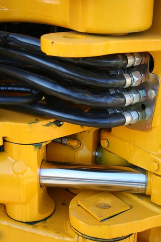 Hydraulic elements of the heavy building bulldozer