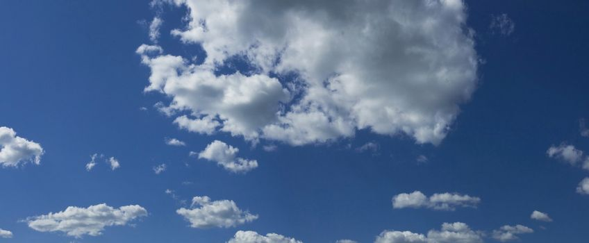 Blue cloudy sky panorama. See for more of my blue skies & other images