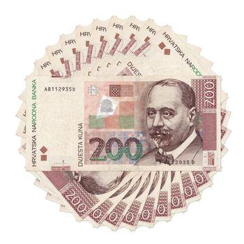 Croatian bank note kuna - in circle