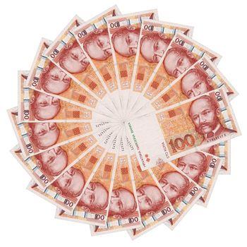 Croatian bank note in circle