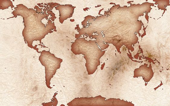 World map on old rugged paper