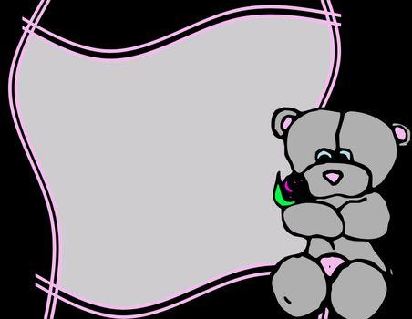 frame with teddy bear