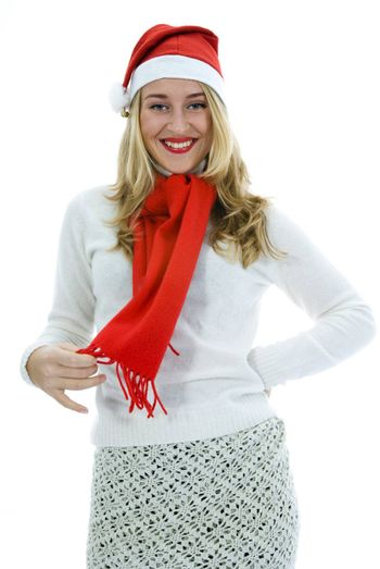 Beautiful woman with red scarf on white background