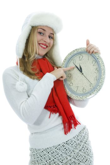 Beautiful woman with clock on white background