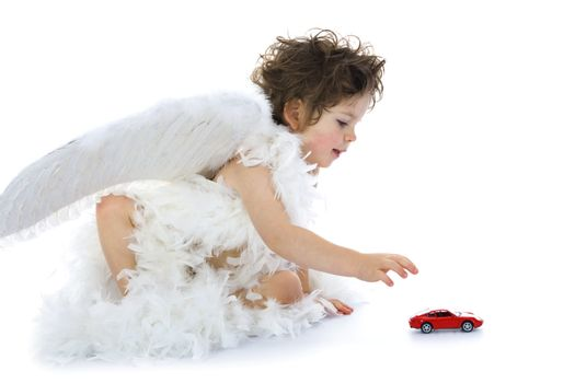 Little angel with car
