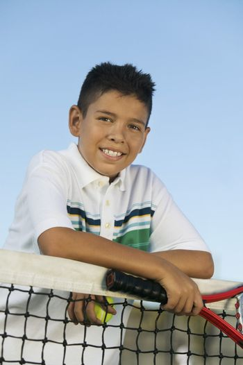 Tennis Player Leaning on Net
