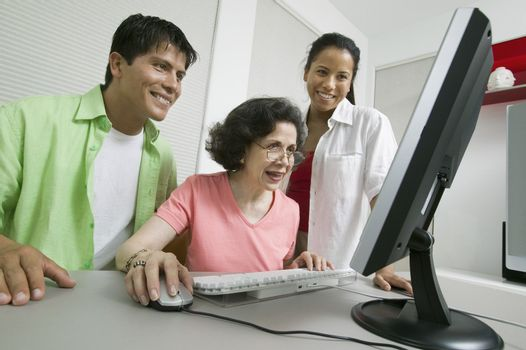 Family Using Computer