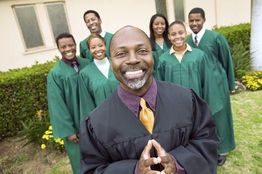 Minister in Front of Gospel Choir