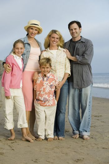 Family Together on Beach