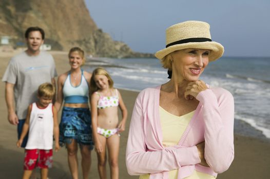 Grandmother at Beach with Family