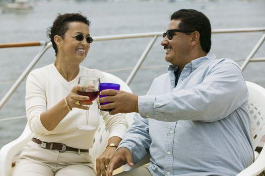 Couple Toasting on Boat