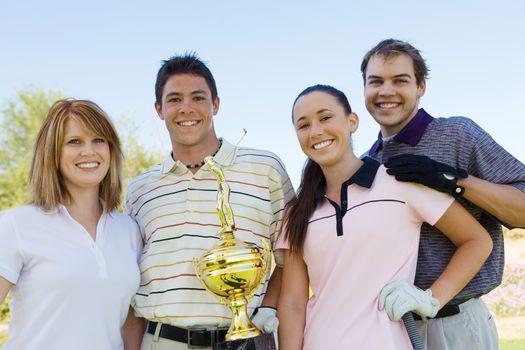 Friends Gathered Around Champion Golfer