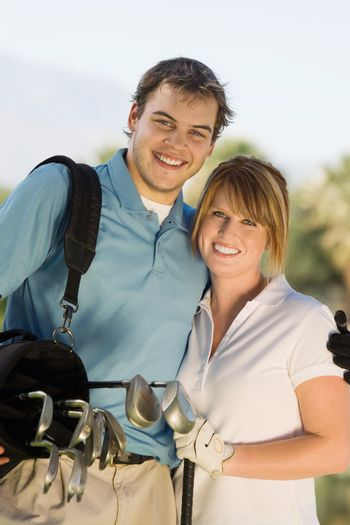 Couple Golfing Together