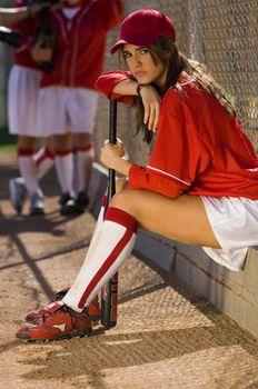 Softball Player Waiting to Bat