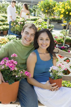 Happy Couple at Garden Nursery