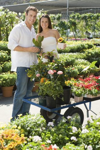 Young Couple Shopping Together at Garden Nursery
