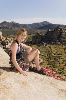 Climber on Rocks with Gear