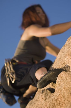 Woman Free Climbing