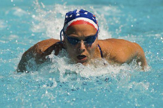 Woman Swimming Butterfly Stroke