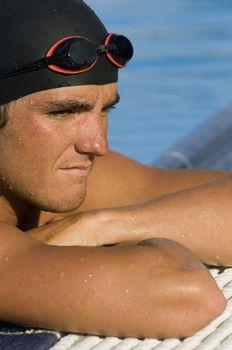 Swimmer at Pool Edge