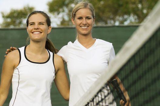 Tennis Players at Net After Match