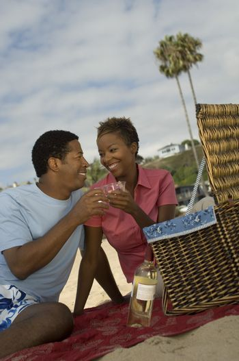 Couple Having a Picnic at the Beach