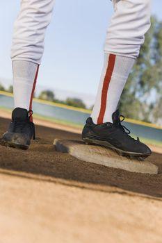 Baseball Player Standing on Base