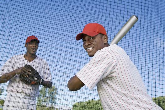 Baseball Players at Batting Practice