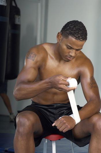Athlete Wrapping his Hands