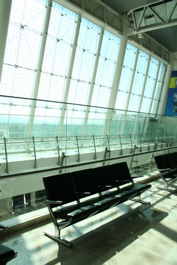 Empty seats at a modern airport