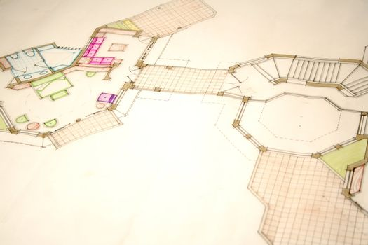 colored architectural plans for home