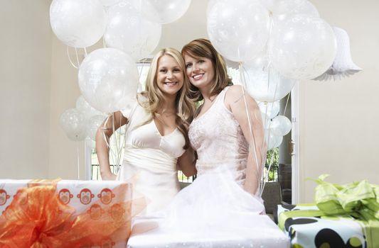 Bride and Friend Together at Bridal Shower