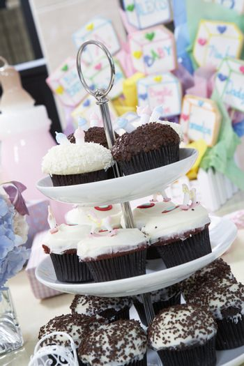 Tray of Cupcakes at a Baby Shower