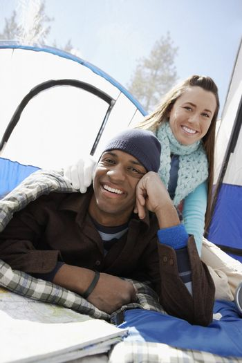 Camping Couple inside Tent