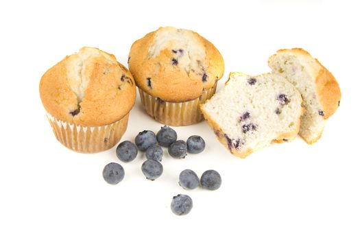 Blueberry muffins isolated on white bacground