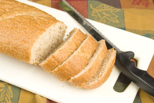 Loaf of sliced fresh bread