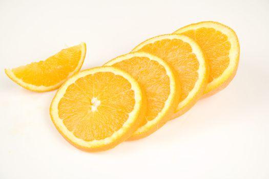 Orand slices isolated on white Background