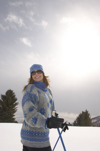 Smiling Woman on the Ski Slope
