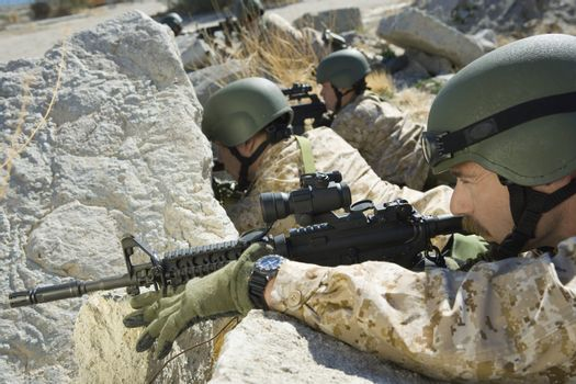 Soldiers Positioned to Shoot