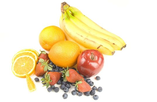 assorted fruit isolated on white
