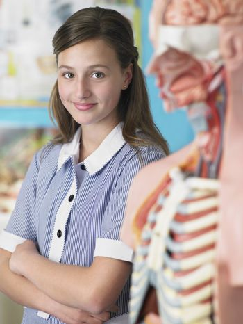 High School Student With Anatomical Model
