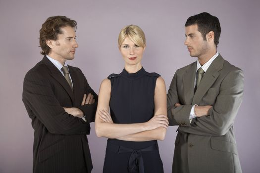Businesswoman Surrounded by Businessmen