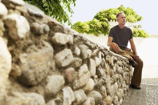 Tourist on Stone Wall