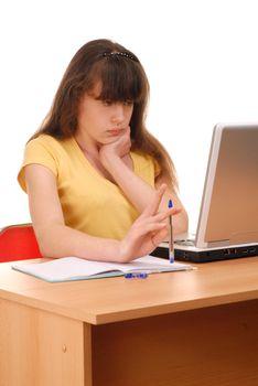 Teenage girl doing her homework