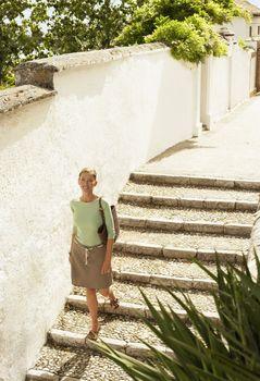 Tourist on Steps
