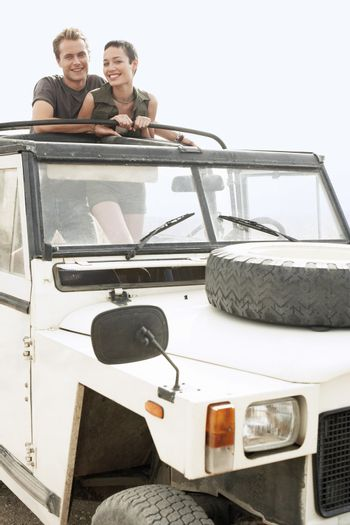 Hikers in Land Rover