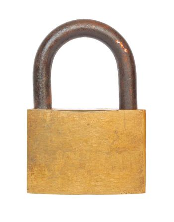 Old and rusty padlock isolated on white
