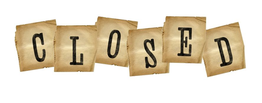 Grungy brown letters forming the word CLOSED