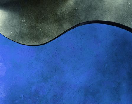 Blue wave and grey sky - abstract background